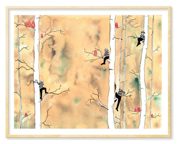Russian Nesting Doll, Whimsical Art, Watercolor Print, Prints Illustrations, Dorm Decor, Living Room Wall Art, Matryoshka, 11x14, Yellow Art