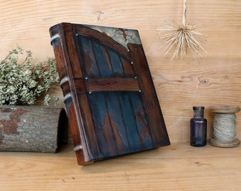 "Leather Journal, Blank Book, Handpainted decoration, ""Gate to the Mind"", One of a Kind (3/4)"