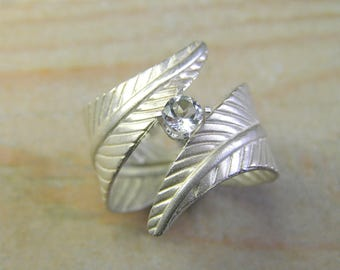 White Topaz Leaf Wrap Ring.Sterling Silver Large Leaf Ring. Nature, Leaf Ring. Gemstone Leaf Ring. Botanical Jewelry