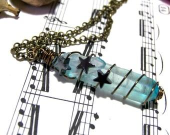 Aqua Aura Quartz Crystal Pendant Rainbow Sky Blue Raw Rough Crystal Pendant Hematite Star Pendant