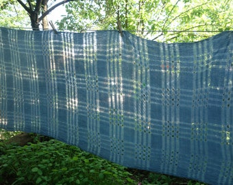 """Large Indigo Blue Scarf Loosely Handwoven Soft Cotton Scarf Natural Dye 34""""x 70"""" Hand Dyed Light Blue Summer Scarf Lightweight Cotton Scarf"""