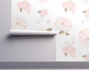 Floral Wallpaper - Indy Bloom Blush Rose By indybloomdesign - Custom Printed Removable Self Adhesive Wallpaper Roll by Spoonflower