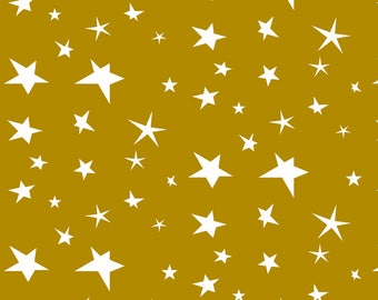 White Stars on Mustards Fabric - Stars White On Mustard Yellow By Sunny Afternoon - Nursery Decor Cotton Fabric By The Yard With Spoonflower