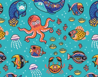 Nautical Sea Creature Fabric - Aquatic Animals By Penguinhouse - Octopus Kids Jellyfish Crab Cotton Fabric By The Yard With Spoonflower