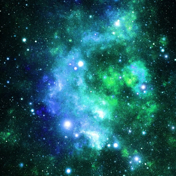 Galaxy fabric blue and green space stars by inspirationz for Outer space fabric by the yard