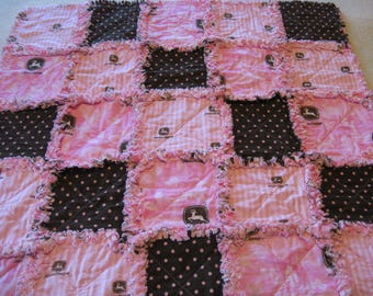 John Deere Pink and Brown Tractor Baby Girl Rag Quilt Blanket 35x35
