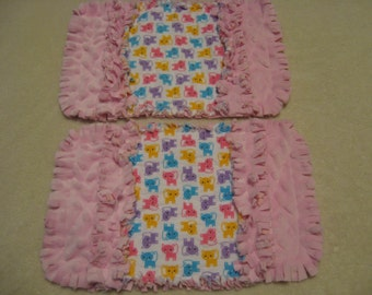 Kitty Mini Kittens Cat burp cloth Baby Shower Gift Spit Rag Pink Baby Girl Burp Cloths with Minky backing