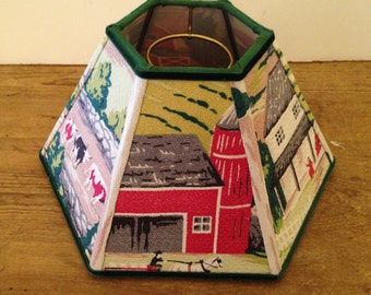 "Chimney Farm Lamp Shade, Lampshade Red Vintage Bark Cloth, Like Grandma Moses, Country Style, 4"" top x 10"" bottom x 6"" high, Hurricane Shade"