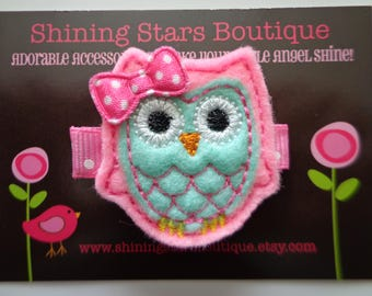 Owl Felt Hair Clip - Hair Accessories - Mint Green & Bubblegum Pink Embroidered Felt Woodland Or Forest Spring Owl Hair Clippie For Girls
