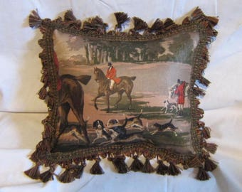 Handmade ENGLISH FOXHUNT Small Horse Pillow w/Green Tassel trim Quality Upholstery Fabric Brown Tones