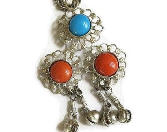 Ethnic Dangle Pendant Necklace Turquoise and Coral Glass Cabochons Vintage