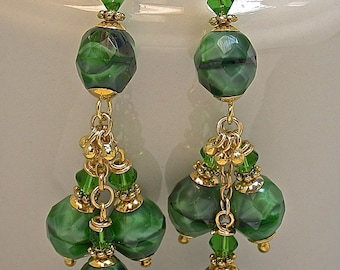 Vintage Czech Faceted RARE Chatoyant Malachite Green Black Cluster Bead Earrings,Vintage Crystal, Bali 24K Gold Vermeil Beads,Ear Wires