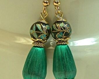 Vintage Tensha Bead Dangle Drop Earrings Black Gold, Vintage Japanese Teal Blue Silk Teardrop Bead, Gold Ear Wires -GIFT WRAPPED JEWELRY