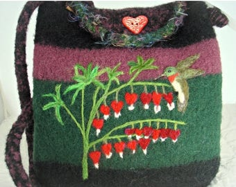 MY BIRTHDAY SALE Felted Purse,felted handbag, Bleeding Heart, flower art, hummingbird purse