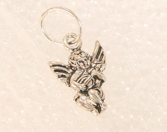 Vintage Silver Angel Charm Fairy Cupid Winged Child Playing Mandolin Sterling