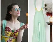Vintage 1940s Pants - Summer Lookbook 2017 - The Buttermint Overalls - Rare 30s Mint Colored Cotton 30s Overalls with Bright Yellow Trim