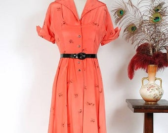 SALE - Vintage 1950s Dress - Charming Silky Coral Novelty Print Shirtwaist 50s Day Dress with Black Transportation Theme Print
