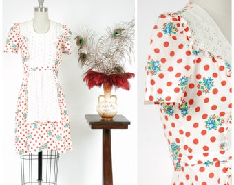 Vintage 1930s Dress - Summer 2017 Lookbook - The Morning Bell Dress - Late 30s Polka Dot and Floral Cotton with White Eyelet & Puff Sleeves