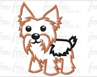 "Yorkie Dog Digital Embroidery Design Machine Applique 4""-16"""
