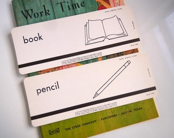 2 Vintage 1962 Flashcards Set Book and Pencil Flash Cards School Office Library Decor