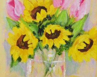 Sunflowers and Tulips
