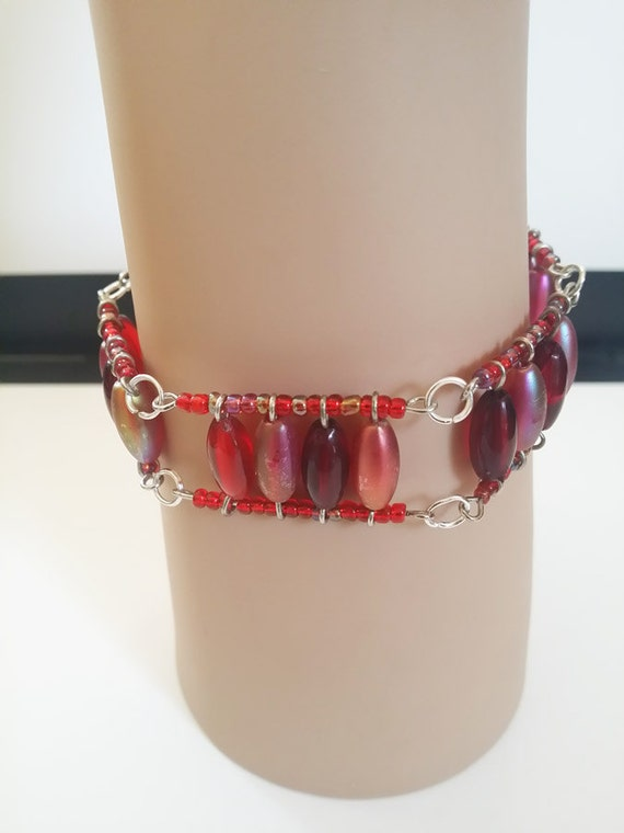 red beaded wire bracelet, beaded bracelet glass acrylic bead red beaded jewelry