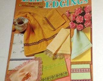 Elegant Edgings, Vintage Pattern Book, Coats and Clark 189, To Knit, To Crochet, To Tat, 35 Pages, Vintage 1969 Book, Patterns