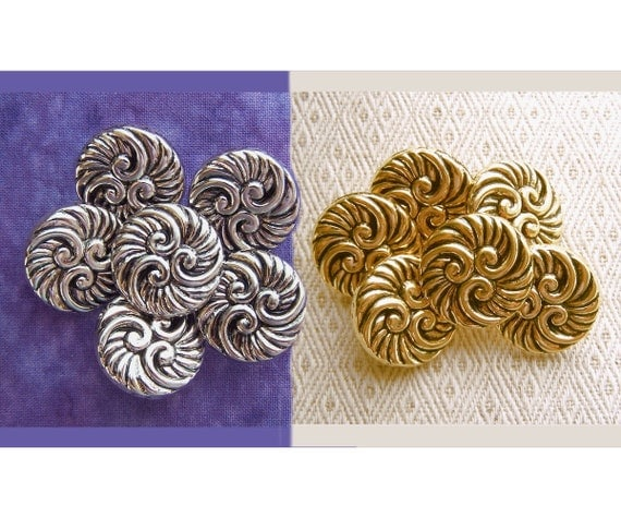 Water Swirl Buttons 22mm - CHOOSE Silver or Gold - 7/8 inch Carved Nautical Ocean Waves Buttons - 6 Antiqued Metallic Plastic Buttons PL551