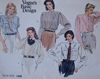 1980's Vogue 1398 Vintage Sewing Pattern Pleated Loose Fitting Shirts Blouses Boxy Shoulders Vogue's Basic Design UNCUT Size 10
