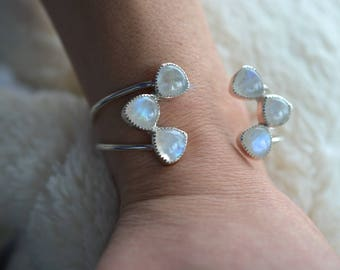 sterling silver, open cuff, adjustable cuff, moonstone, bracelet // ALWAYS CUFF