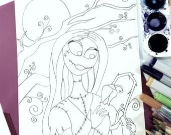 Sally Coloring Page Nightmare Before Christmas