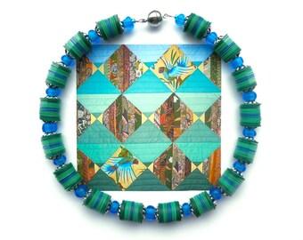 BLUE GREEN Vulcanite Choker, Tribal Choker, Blue Green Choker, Vintage Bead Choker, African Trade Bead Choker, Statement Choker