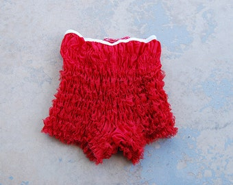 vintage 60s Bloomers - 1960s Red Ruffled Lace Can Can Pettipants Sz S M