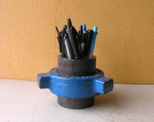 Blue Pencil Holder Pencil Cup Metal Desk Organizer Office Accessory Industrial Decor Boyfriend Gift Upcycled Pipe Makeup Brush Storage