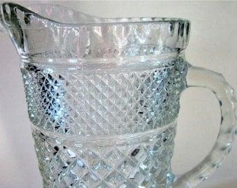 Juice Pitcher Anchor Hocking Refrigerator Glass Large PITCHER Wexford Diamond Cut Ice Tea Water Crystal Vintage 64 oz Rare Design