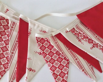 Bunting Scandinavian Style - 12 flag Fabric Garland Banner - 8.5ft long new fabric combo for 2016
