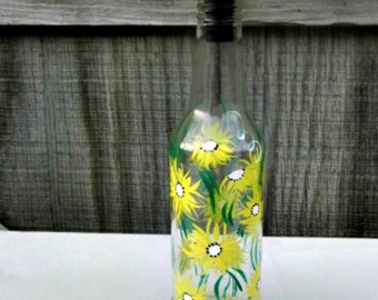 Oil and Vinegar Bottle, Dish Soap Dispenser,  Recycled Clear Beer Bottle, Painted Glass, Yellow Flowers