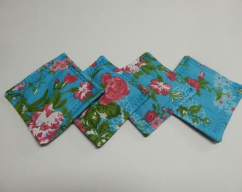 Set of 4 Fabric Drink Coasters Flowers