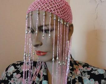 Pink Cleopatra Beaded Cap Sz Small