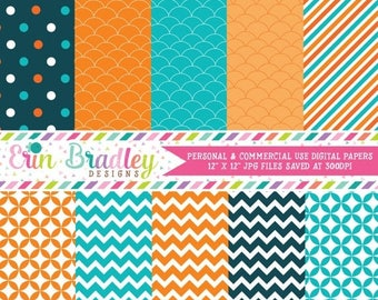 50% OFF SALE Digital Scrapbook Papers Personal and Commercial Use Teal Blue and Orange Medley