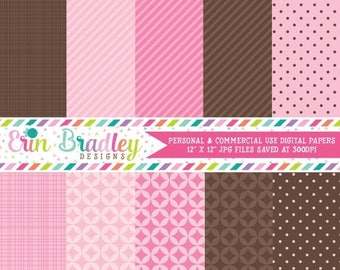 50% OFF SALE Pink and Brown Digital Scrapbooking Paper for Personal & Commercial Use