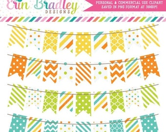 50% OFF SALE Digital Bunting Clipart Graphics Yellow Orange Green & Blue Commercial Use Clip Art Polka Dots Chevron Stripes