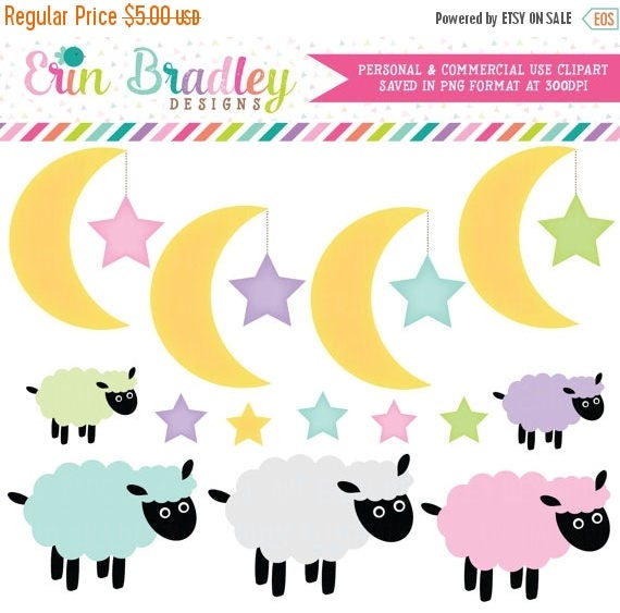 50% OFF SALE Moon Stars Clipart Clip Art for Personal or Commercial Use with Lambs Instant Download