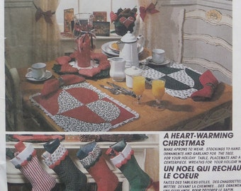 McCall's 4399 - Great Christmas Decorations - Stockings, Wreath, Placemat, Centerpiece, Apron, Ornament - Vintage DIY Pattern - UNCUT - Xmas