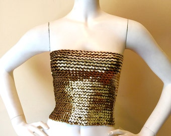 Vintage 70's / 80's BRIGHT GOLD sequin tube top DISCO!
