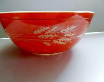 Pyrex Autumn Harvest Bowl, Pyrex Orange Wheat Bowl, Pyrex Nesting Bowl, Orange Mixing Bowl