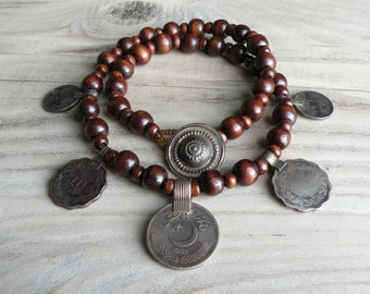 Dancing Gypsy - Tribal Coin Necklace, Brown Wood Beads, Bohemian Necklace, Nomadic Jewelry