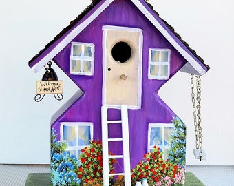 Whimsical , Unique Purple Birdhouse , Handmade , Hand Painted , Wild Bird House