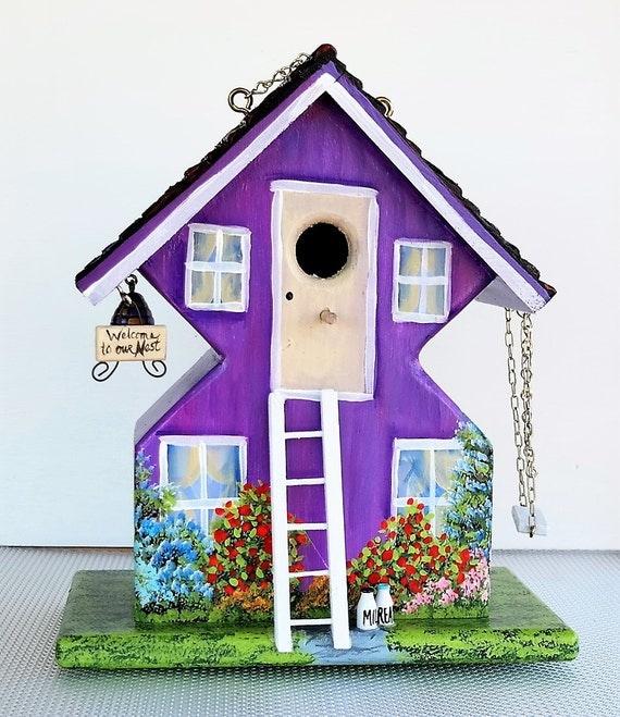 Whimsical Unique Purple Birdhouse Handmade Hand Painted
