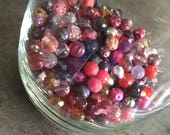 Glass Beads 8mm Round Large Lot Pinks Purples Reds Sangria Assortment
